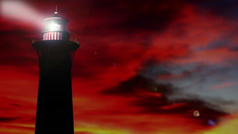 3D Rendered Lighthouse at Sunset Animation