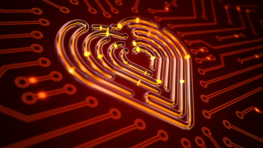 Abstract background with animation of symbol heart from glass on backdrop of glowing circuit.   Shutterstock HD Video #1021684288