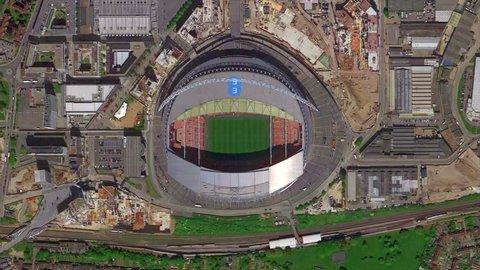 England London January 2019: Earth Zoom of Wembley Stadium