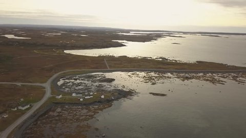 Aerial view of L'Anse aux Meadows National Historic Site on the Atlantic Ocean Coast. Taken in Newfoundland, Canada.