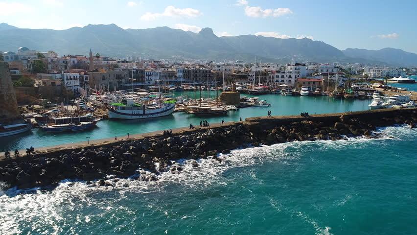 Antique Kyrenia Harbour North Cyprus girne   Shutterstock HD Video #1021713928