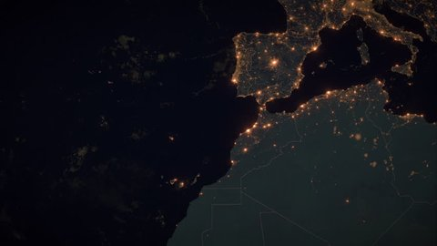 Zoom to Spain with the Canary Islands. The Night View of City Lights. World Zoom Into Spain - Planet Earth. Political Borders of European Countries. The Biggest Cities: Madrid, Barcelona, Valencia.