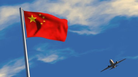 3D animation of a jet airliner flying over a Chinese flag waving on a flagpole.