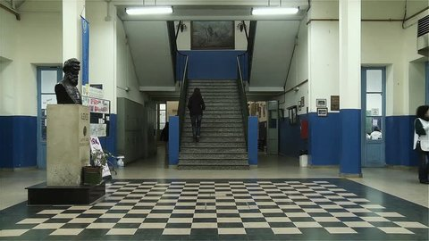 Buenos Aires / Argentina - 20 May 2017: Hallway and Stairs in a Public School of Buenos Aires.