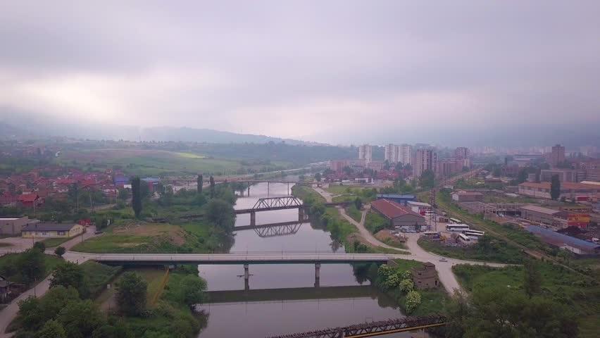 Zenica river flying back | Shutterstock HD Video #1021898488