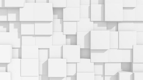 Abstract square geometric surface animation. light bright clean minimal squares. Random waving motion background architectural canvas. Seamless loop 4K FullHD