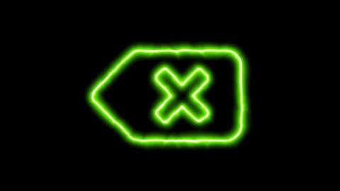 The appearance of the green neon symbol backspace. Flicker, In - Out. Alpha channel Premultiplied - Matted with color black