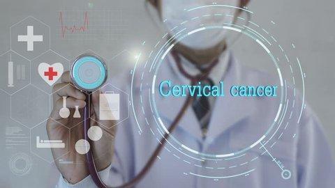 Cervical cancer. Doctor using stethoscope on medicine background. Futuristic technology. data hologram healthy concept.