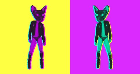Minimal Animation design. Gif set dancing sexy kitty. Ideal for nightclub screens and funny gifs