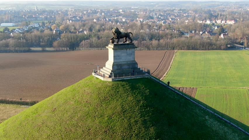 Aerial view of The Lion's Mound with farm land around.  The immense Butte Du Lion on the battlefield of Waterloo where Napoleon died. Belgium.  | Shutterstock HD Video #1022042458
