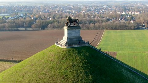 Aerial view of The Lion's Mound with farm land around.  The immense Butte Du Lion on the battlefield of Waterloo where Napoleon died. Belgium.