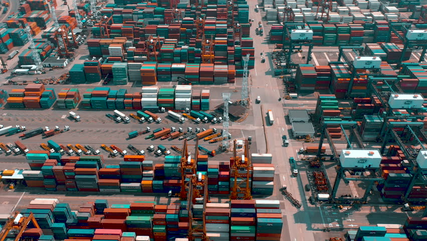HONG KONG - MAY 1, 2018: Aerial view of a modern port container terminal. Import and export, business logistic. harbor cranes and large ships. | Shutterstock HD Video #1022059318
