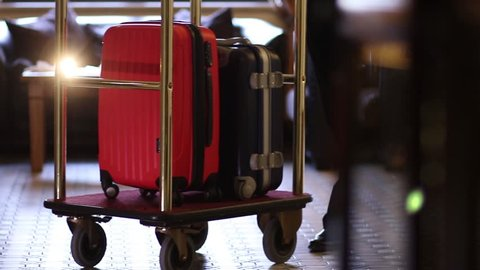 Bellboy carries suitcases in hotel