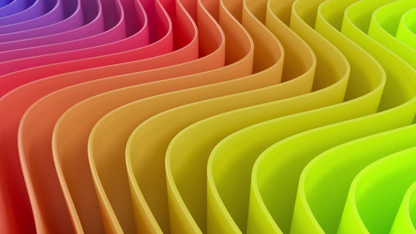 4k 3D animation of rows and rows of colorful stripes in a rainbow rippling.
