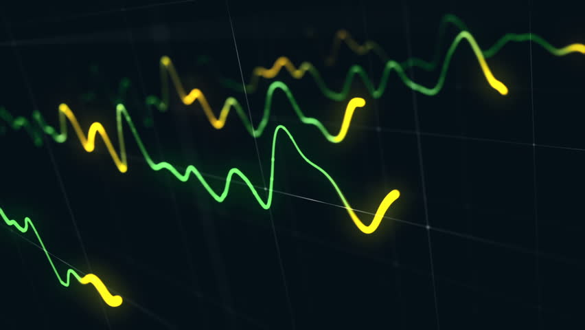 Animation growth of abstract charts with changing values of check points on dark background. Animation of seamless loop.   Shutterstock HD Video #1022111038