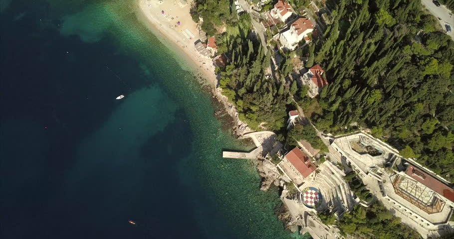 Aerial birds eye view of a beach in Croatia, Dubrovnik, beautiful sunny summers day.