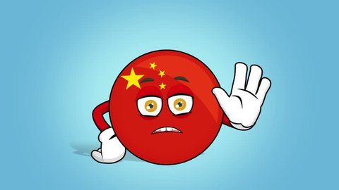 Cartoon Icon Flag China Stop Hand Gesture with Face Animation