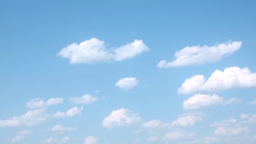 Formating white rolling clouds time lapse, fluffy, puffy white cloudscape horizon panorama view, nature summer sunny lightness day, blue clear skies. #1022234608