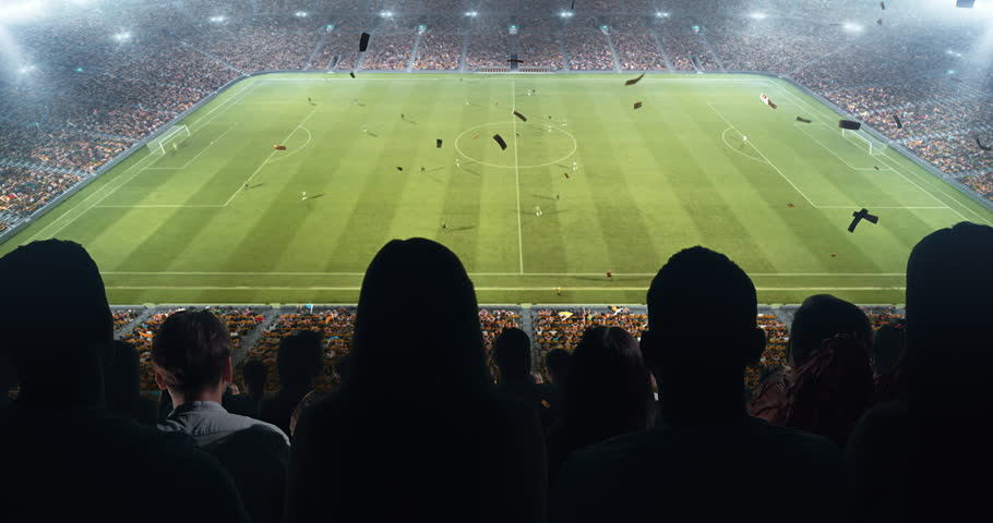 Fans celebrating the success of their favorite sports team on the stands of the professional stadium. Stadium is made in 3D and animated. #1022278198