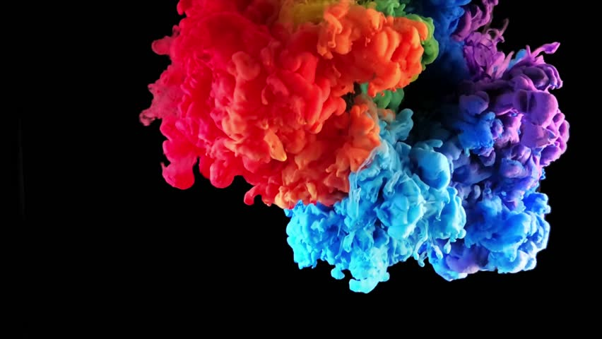 Colorful ink paint drops top view, rainbow color blending in the water in slow motion. Ink liquid art swirling underwater isolated on black background . Cloud of fluid ink isolated with alpha mask.  | Shutterstock HD Video #1022279548