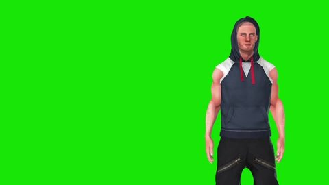 Hip Hop Rap Dancer Green Screen Close up 3D Rendering Animation