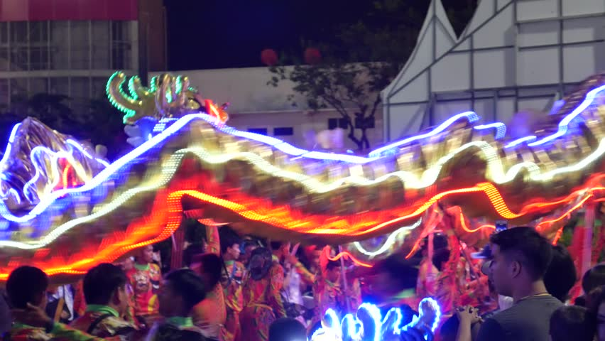 Bangkok, Thailand-December 28, 2018: Lighted Dragon Dance/Chinese Dragon celebrate the Great King Taksin in Bangkok #1022317738