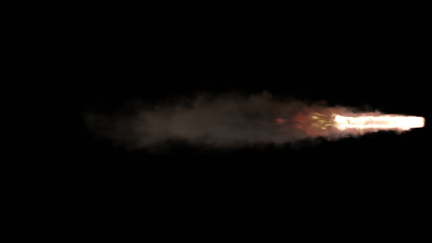 Animated stream of fire and smoke as if from jet engine or flying rocket burning solid fuel. Less dense smoke and fire. Isolated on black background, mask included.   Shutterstock HD Video #1022450608
