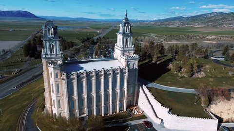 Beautiful Aerial Drone Shot of Mormon LDS Temple In Manti Utah