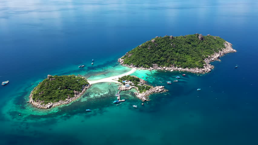 Aerial view beautiful top view of Koh Nang Yuan island, Koh Nangyuan, Surat Thani, Thailand. | Shutterstock HD Video #1022462488