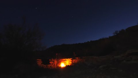 Time-lapse of family camping with campfire and flashlights in southern utah  desert from dusk to night
