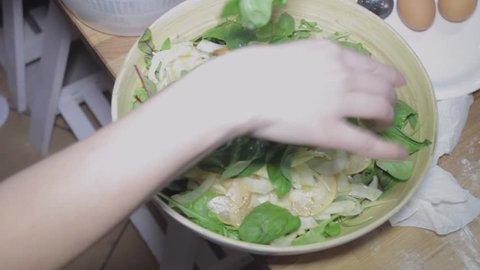 Fresh arugula salad with cheese, healthy food, diet, slider shot