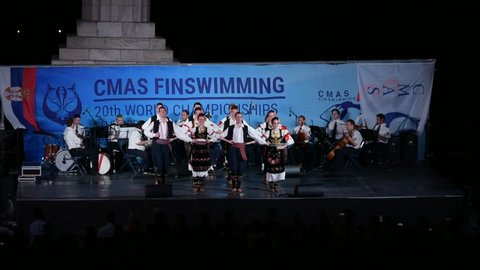 Belgrade / Serbia - July 16th 2018: Folk dance ensemble performing Serbian national dance Kolo