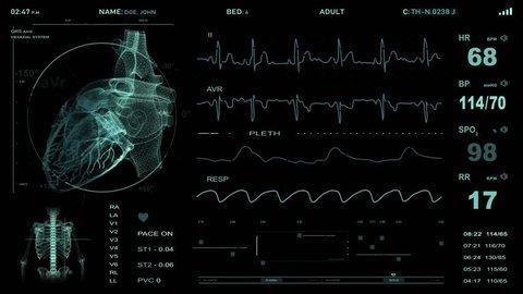 Cardiac monitoring. Heart monitor.  Electrocardiography. Seamless animation, 4K