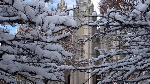 Mormon Temple in Salt Lake City, Utah during winter just after a heavy snowfall - panning up