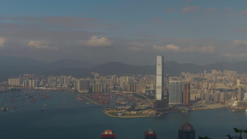 Hong Kong city. View from Lugard Road observation point on Kowloon. | Shutterstock HD Video #1022688958