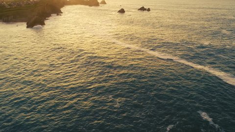 aerial view of amazing rock formations on the Costa Quebrada at sunset, Cantabria, Northern Spain