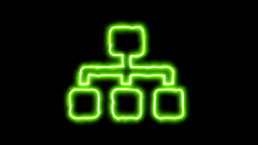 The appearance of the green neon symbol sitemap. Flicker, In - Out. Alpha channel Premultiplied - Matted with color black