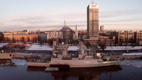 "Riga, Latvia. January 20, 2019. The German frigate F 221 ""Hessen"" in Riga, Latvia docked near the old town."