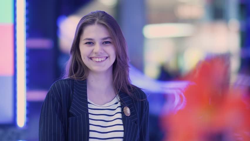 Young Cute Woman Posing In The Shopping Mall | Shutterstock HD Video #1022797078