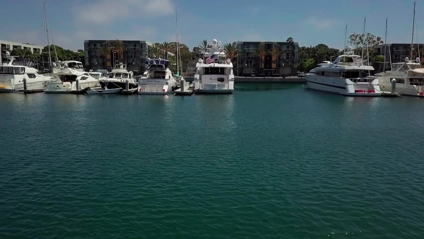 Aerial view of Marina del Rey, Los Angeles moored boats   Shutterstock HD Video #1022801908