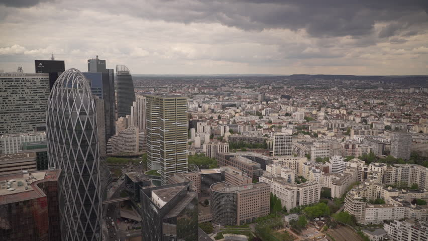 Large view of buildings of La Defense, the business district in Paris, France | Shutterstock HD Video #1022819668