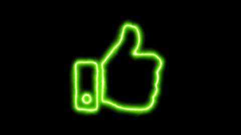 The appearance of the green neon symbol thumbs up. Flicker, In - Out. Alpha channel Premultiplied - Matted with color black