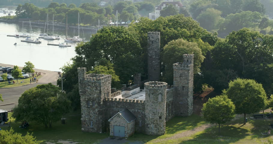Aerial of a Castle at Glen Island Park and Marina in New York | Shutterstock HD Video #1022833018