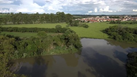 Lagoon and small village at background captured by drone footage