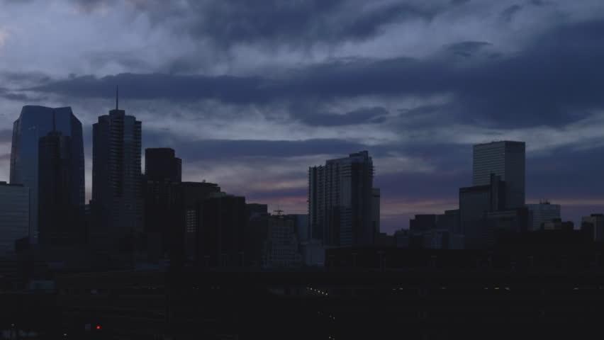 Denver Skyline Timelapse Pan at Sunrise