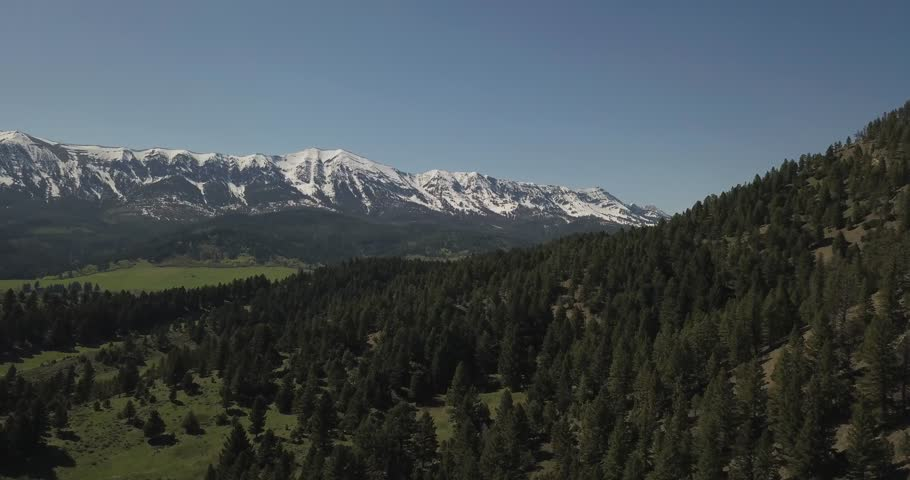Beautiful lush green spruce tree forest next to rocky snowy mountains in the town of Bozeman Montana (drone shot) | Shutterstock HD Video #1022841448