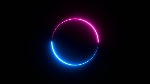 ABSTRACT seamless background blue purple spectrum looped animation fluorescent ultraviolet light glowing neon lines Abstract background with neon box circle pattern LED screens and projection mapping