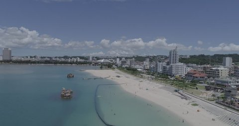 Aerial view Beautiful beach Araha chatan okinawa LOG/FLAT