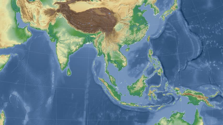 Stock Video Of Thailand On The Physical Map Outlined | 10228958 |  Shutterstock