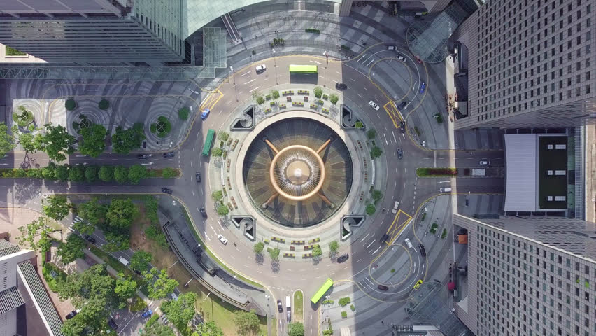 Drone footage top view of the Fountain of Wealth as the largest fountain in the world at Singapore. It is located in one of Singapore largest shopping malls. | Shutterstock HD Video #1022931958